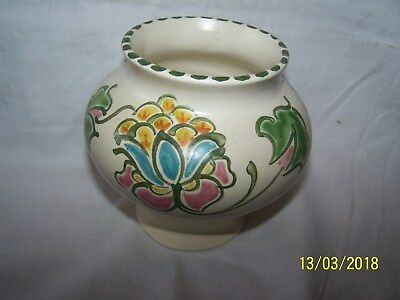 Honiton Vase with styalised flower pattern in pink, turquoise, yellow ~ 10cms