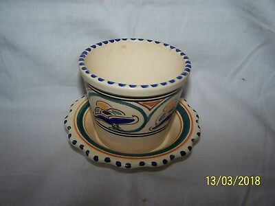 Honiton Flower Pot and saucer ~ blue, green, yellow, brown, black ~ 6.5cms