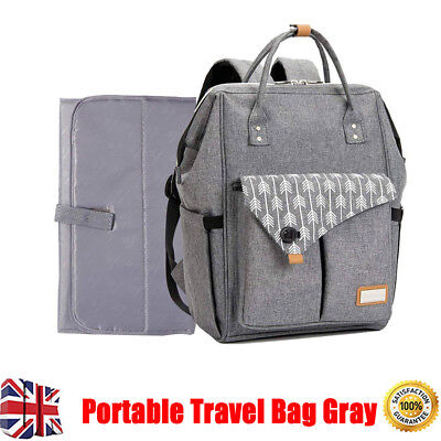 Multi-use Large Mummy Baby Diaper Nappy Backpack Mom Portable Travel Bag Gray UK