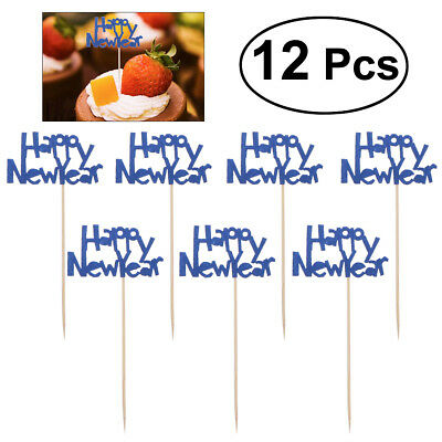 12pcs/Pack Happy New Year Letters Cake Decoration Cake Picks Cupcake Topper