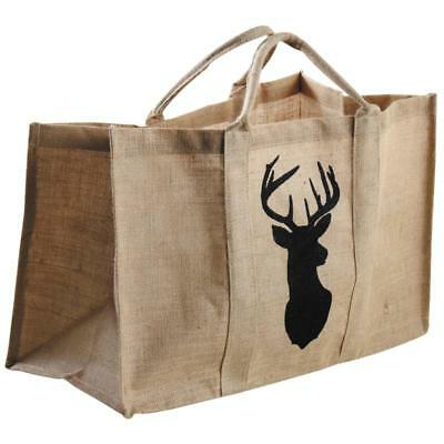 Large Log Basket Heavy Duty Jute Handles Stag Design Wood Storage Shopping Bag