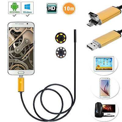 10m USB HD Endoskop Inspektion Kamera Inspektionskamera Android PC iPhone IOS DE