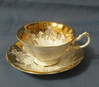 Queen Anne Cup & Saucer Shiny Heavy Gold
