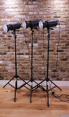 3 Interfit Stella X 150 Flash Units With Stands