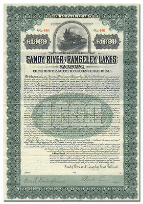 Sandy River and Rangeley Lakes Railroad Bond Certificate (Maine)