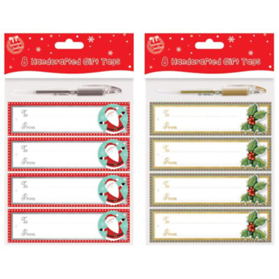 Pack of 8 Handcrafted Gift Tags with Pen Christmas Gift Wrapping Decoration 8093
