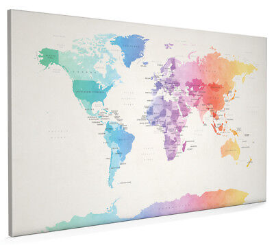 Watercolour Political Map of the World Box Canvas and Poster Print (1275)