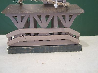 "Miniature Dollhouse FAIRY GARDEN Accessories  4 1/2""wooden w/tin roof bridge"