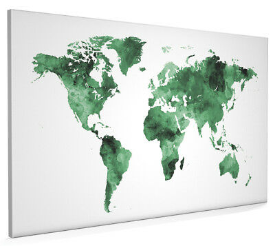Map of the World Map Watercolor Box Canvas and Poster Print (2398)
