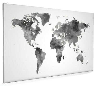 Map of the World Map Watercolor Box Canvas and Poster Print (2396)