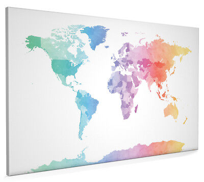 Watercolor Map of the World Map Box Canvas and Poster Print (1274)