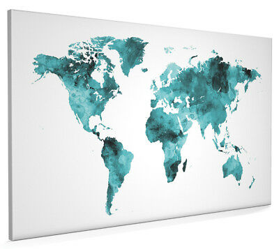 Map of the World Map Watercolor Box Canvas and Poster Print (2400)