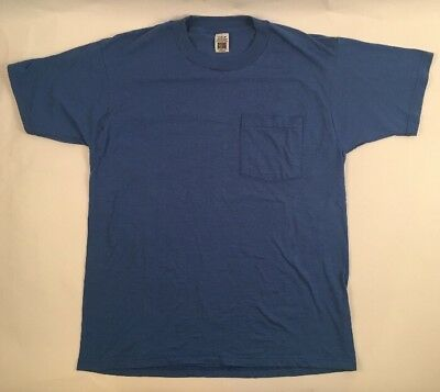 Vtg FRUIT of the LOOM Golden Blend pocket selvedge t shirt Medium blank Blue