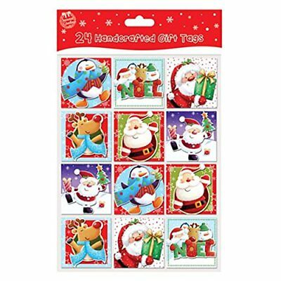 Pack of 24 Handcrafted Christmas Gift Tags 6 Design Per Pack Self Adhesive Tag