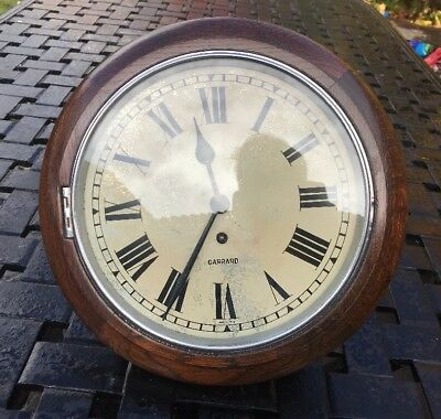 Large Antique Oak & Chrome Garrard Wall Clock @ 1920