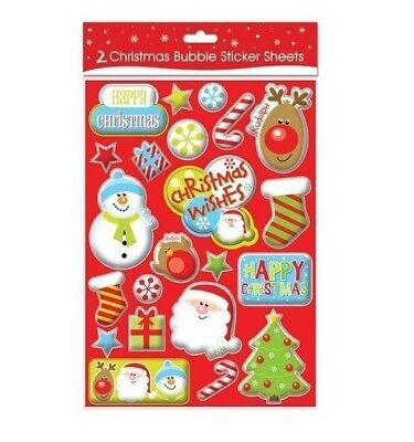 Pack of 2 Bubble Christmas Theme Sticker Sheets Christmas Design 9590