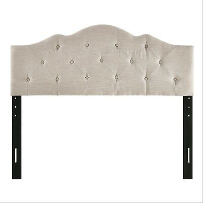 Rounded Upholstered Headboard Padded Full Queen Size Bed Tufted On Best New