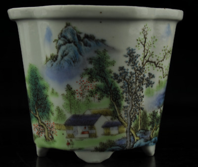 china old hand-made famille rose porcelain Hand painted landscape flower pot c01