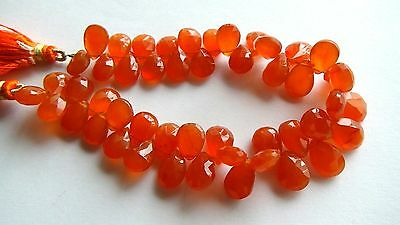 Carnelian faceted pear briolette- 12mm- 3 Pairs