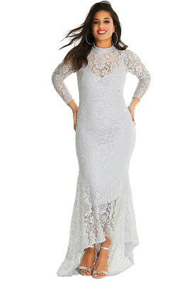49f71bf83cc21 US Womens Elegant Plus Size High Neck Lace Fishtail Formal Evening Maxi  Dress