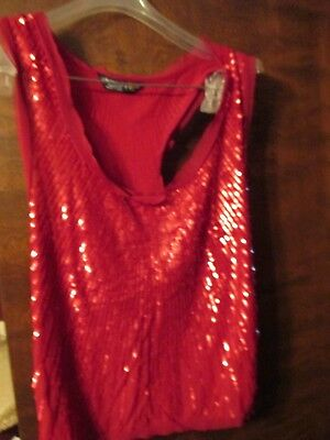 Chaudry KC Sleeveless Top Sequins Tank Red Metallic Beaded Womens Sz L NWT