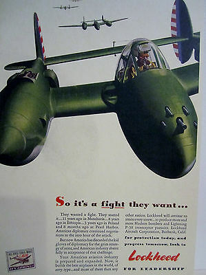 WWII Vintage 1942 Advertising Grocery Sign LOCKHEED HUDSON BOMBER FIGHTER PILOT