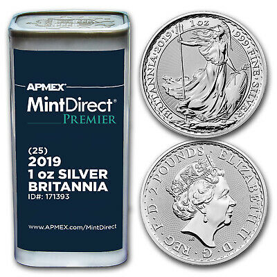 2019 GB 1 oz Silver Britannia (25-Coin MintDirect Premier® Tube) - SKU#171393
