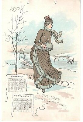 Lot: 6 Large 1890 Yearly Calendar Trade Cards Ivory Soap Victorian Ladies