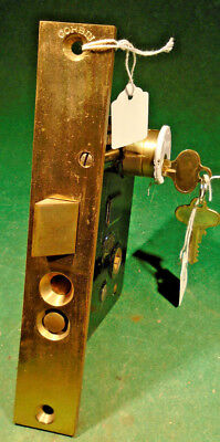"CORBIN #01889 RH PUSH BUTTON BRASS ENTRY MORTISE LOCK w/KEY  8"" FACEPLATE(10534)"