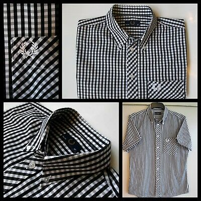"""Fred Perry - Black / White Gingham Check S/s B/d Shirt - 42"""" Chest"""