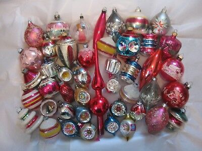 Lot of 44 Vintage Shiny Brite Poland Indent Diorama Glass Christmas Ornaments