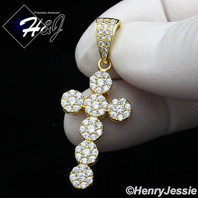 MEN 925 STERLING SILVER LAB DIAMOND ICED OUT BLING CROSS CHARM PENDANT*SP146