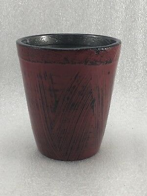 #E6 Japanese Red Wood Lacquer Ware Coffee Mug Cup w/ Handle