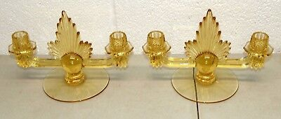 Rare!! Vtg Dual TRIDENT Art Deco CANDLE HOLDERS SET/ Pair (Yellow Glass)
