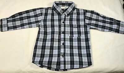 Izod Baby Boy's 24M Button Down Plaid Shirt Cotton Blue/Black/Red Front Pocket