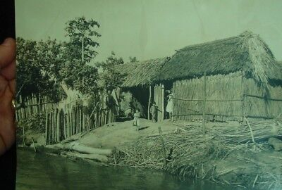 old 10x8 South America 1940 upper Magdalena Province Rio HUT LIFE photo Colombia