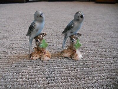 LOT of 2 Vintage Porcelain Parakeet Figurine