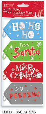 Pack Of 40 Christmas Foiled Gift Luggage Tags Gift Wrap With String 4 Designs
