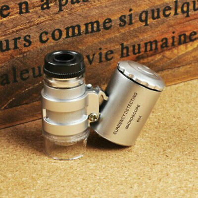 Mini Pocket Microscope LED UV Jewellery Glass 60x Magnifier Jeweller's Loupe LED