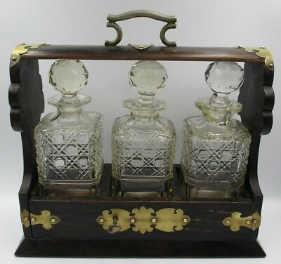 Fine Antique 19th Century Tantalus Crystal Liquor Decanter Rosewood MUST SEE