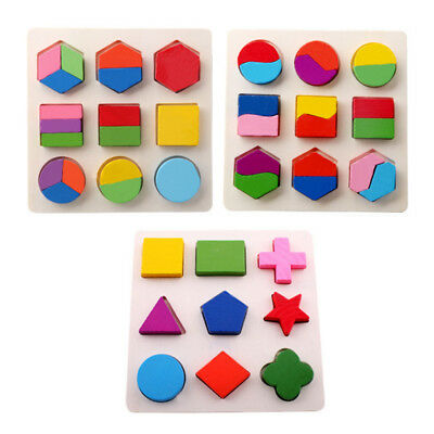 Children Baby Educational Wood Puzzle Jigsaw Shape Preschool Early Learning Toys