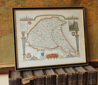 Antique Map of Yorkshire. Hull, Beverley Minster, East Riding. MOULE c1840