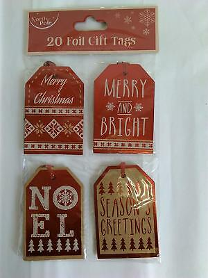 North Pole Pack of 20 Christmas Metallic Foil Red Gift Tags Christmas Greetings