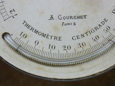 Old-Antique Barometer Dial With Fitted Thermometer - Working (Sm)