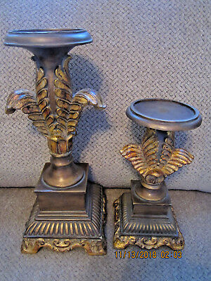"""Elegant Clior gold tone pair of pillar candle holders never used 8"""" & 12"""" tall"""