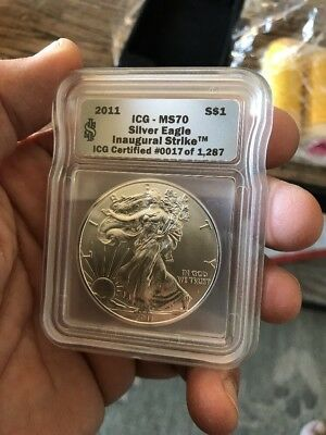 2011 American Silver Eagle ICG MS70 United States Silver Dollar Bullion Coin