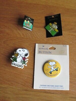Snoopy / Peanuts  Lot Of 4 Pin Backs Snoopy And Spike