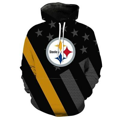 Pittsburgh Steeler Hoodie Hooded Sweatshirt Pullover NFL Football Fan Size S-5XL