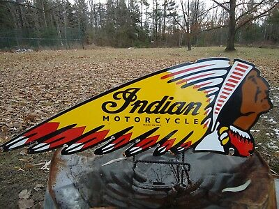 Vintage -Double Sided- Indian Motorcycles Porcelain Dealer Advertising Sign Made