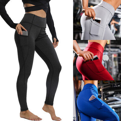 Women's Compression Yoga Pants Pocket Running Gym Leggings Sports Trousers G14